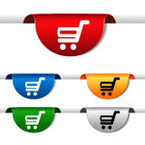Simple shopping cart - trolley on green, blue, red, orange and silver label. Item, buy button for web page. Stock Photography