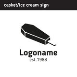 A simple sign of the coffin in the form of ice cream for your lo Royalty Free Stock Photo