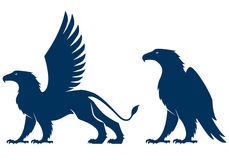 Simple silhouette illustration of a griffin and an eagle Stock Images
