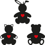 Simple silhouettes of Bear, Rabbit and Cat Stock Images