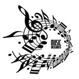 Simple single color music background with notes and clef. Royalty Free Stock Photos