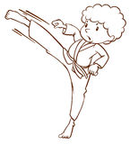 A simple sketch of a boy doing martial arts Royalty Free Stock Photos