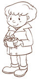 A simple sketch of a boy holding a gift Royalty Free Stock Photography