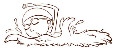 A simple sketch of a boy swimming Stock Photos
