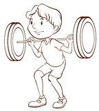 A simple sketch of a boy training Stock Images