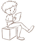 A simple sketch of a boy using a mobile Royalty Free Stock Photography