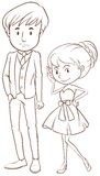 A simple sketch of a couple in formal attire Royalty Free Stock Photo