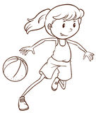 A simple sketch of a female basketball player Stock Image