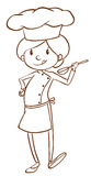 A simple sketch of a female chef Royalty Free Stock Photography