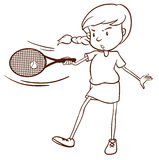 A simple sketch of a female tennis player Stock Photo