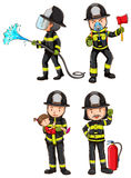 A simple sketch of firemen. Illustration of a simple sketch of firemen on a white background Stock Image