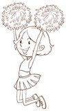 A simple sketch of a girl cheerdancing. Illustration of a simple sketch of a girl cheerdancing on a white background Royalty Free Stock Photo