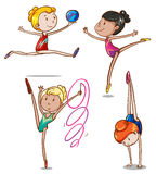 Simple sketch of gymnasts. Illustration of the simple sketch of gymnasts on a white background Stock Photography