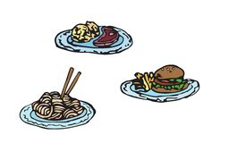 Simple sketch illustration of fast food. Meat set with chinese noodles, steak and hamburger. Royalty Free Stock Photos