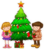 A simple sketch of the kids near the christmas tree Stock Images