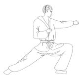 Simple sketch of a man doing martial arts Royalty Free Stock Photography