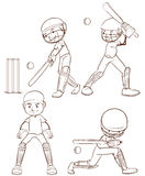 A simple sketch of the men playing cricket Royalty Free Stock Photos