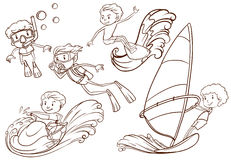 Simple sketch of people doing water sports Stock Images