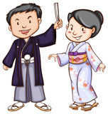 A simple sketch of people wearing the Asian costumes Royalty Free Stock Photography