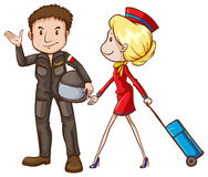 A simple sketch of a pilot and a stewardess stock illustration