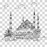 Simple sketch no background blue mosque historical building istanbul turkey no color. Simple sketch simple sketchy blue mosque historical building, istanbul royalty free illustration