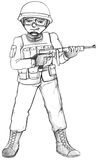 A simple sketch of a soldier Royalty Free Stock Images