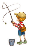 A simple sketch of a young boy fishing Royalty Free Stock Photography