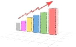 Simple sketched colored progress graph Stock Photo