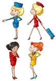 Simple sketches of an air hostess Stock Photography