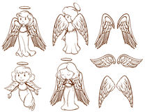 Simple sketches of angels and their wings vector illustration