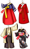 Simple sketches of the Asian costumes on sale Stock Images