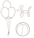 Simple sketches of the balloons and a ball Stock Photography