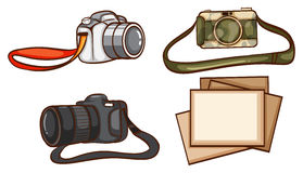 Simple sketches of the cameras of a photographer Stock Photography