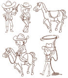 Simple sketches of a cowboy. Illustration of the simple sketches of a cowboy on a white background Stock Photos