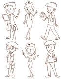 Simple sketches of doctors Stock Images