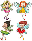 Simple sketches of fairies. Illustration of the simple sketches of fairies on a white background Stock Photo