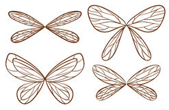 Simple sketches of fairy wings. Illustration of the simple sketches of fairy wings on a white background Stock Photo