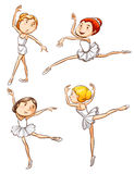 Simple sketches of a girl dancing ballet Royalty Free Stock Photos