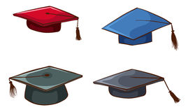 Simple sketches of graduation caps Royalty Free Stock Image