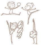 Simple sketches of the gymnasts Royalty Free Stock Photography