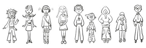 Simple sketches people stock illustration