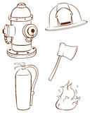 Simple sketches of the things used by a fireman Stock Image