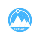 Simple ski resort logo. Concept of snow globe, alpinism, visual identity, vacation, hiking, map pin, snowfall. isolated on white background. flat style trend Stock Images