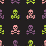 Simple skull and crossbones seamless pattern. Simple human skull and crossbones seamless pattern, vector background Stock Image