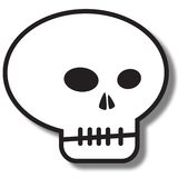 Simple skull icon. Illustration of a simple skeleton skull icon with shadow isolated on white background Stock Image