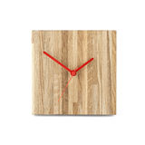 Simple small wooden wall watch - Square clock isolated on white backgr Stock Images