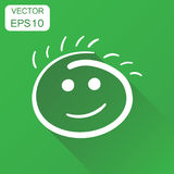 Simple smile icon. Business concept hand drawn face doodle picto. Gram. Vector illustration on green background with long shadow Royalty Free Stock Image