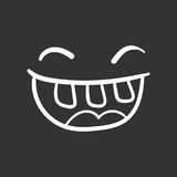Simple smile with tongue vector icon. Hand drawn face doodle ill. Ustration on black background Stock Image