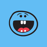 Simple smile with tongue vector icon. Hand drawn face doodle ill Stock Photos