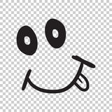 Simple smile with tongue vector icon. Hand drawn face doodle ill Royalty Free Stock Photo